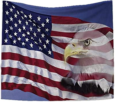 RuppertTextile American Flag Square Tapestry Bless America Flag in The Wind with Eagle Icon Double Exposure