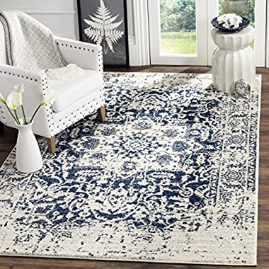 Safavieh Madison Collection MAD603D Cream and Navy Distressed Medallion Area Rug (4' x 6')