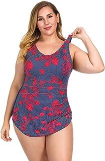 DPhat プリントパターンと背中の開いていない女性のためのプラスサイズの水着ハイウエストワンピースセクシービキニ `