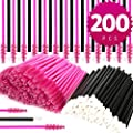 Teenitor Disposable Mascara Wands And Lip Applicators, 200 Pcs Makeup Applicators Lipstick Tester Eye Lash Brushes Wands Eyelash Spoolie