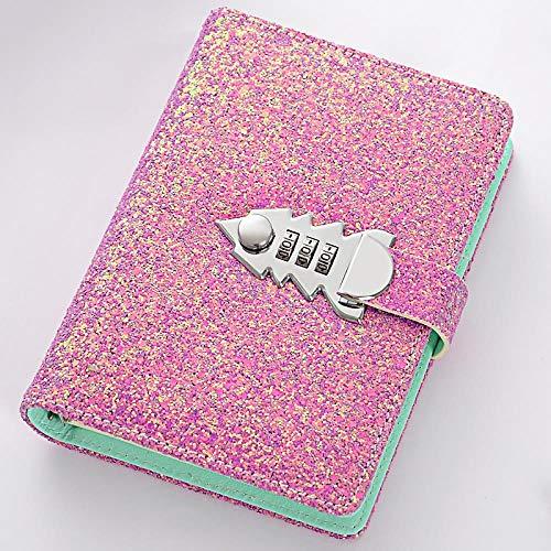 PU cuoio ricaricabile combinazione taccuino di scrittura luccicante diario di scrittura, libro di parola d'ordine allentato, diario di diario segreto (185x135mm), Violetta.