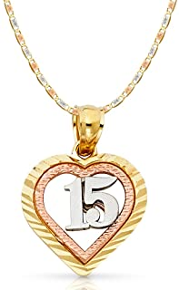Jewels By Lux 10K Yellow and Rose Two Tone Gold Mom Script with Pink Flower Pendant