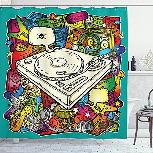 ABAKUHAUS urban Graffiti Duschvorhang, Würfel-Mikrofon, mit 12 Ringe Set Wasserdicht Stielvoll Modern Farbfest & Schimmel Resistent, 175x240 cm, Mehrfarbig