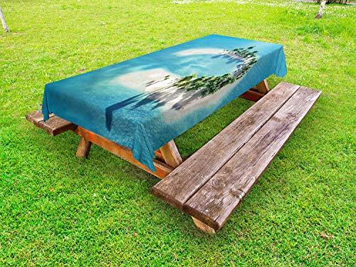 ABAKUHAUS Insel Outdoor-Tischdecke, Atoll Palmen Ozean, dekorative waschbare Picknick-Tischdecke, 145 x 210 cm, Blau Elfenbein Grün