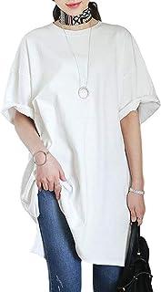 [スリーピングシープ] Tシャツワンピース ロンティー ビッグT ワンピ 半袖ロンT レディース ロングTシャツ ドロップショルダー ゆったり 上着 ビッグティー ワンピース