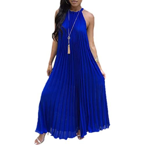 d1694ed8b Boutiquefeel Womens Summer Halter Pleated Casual Maxi Dress