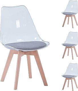 BenyLed Lot de 4 chaises de Salle à Manger de Style scandinave, Design rétro, chaises latérales en Acrylique Transparent, ...