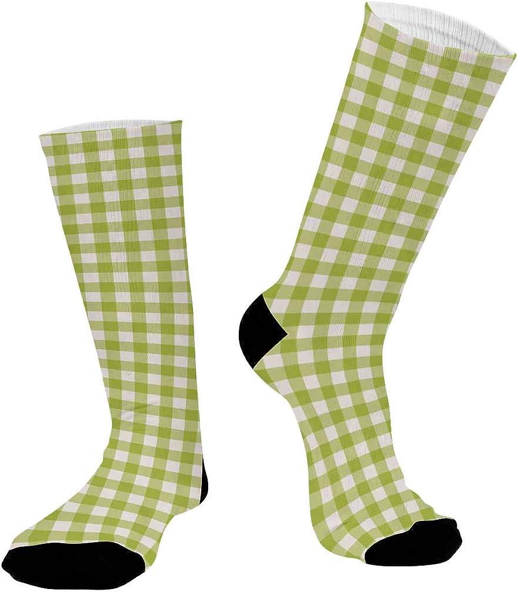 INTERESTPRINT Sublimated Hiking Dress Athletic Crew Socks Green Checkered Pattern