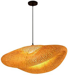 OSALADI Bamboo Woven Pendant Light Antique Lantern Ceiling Lamp Hanging Chandelier Wicker Light with Cloud Shade for Dinin...