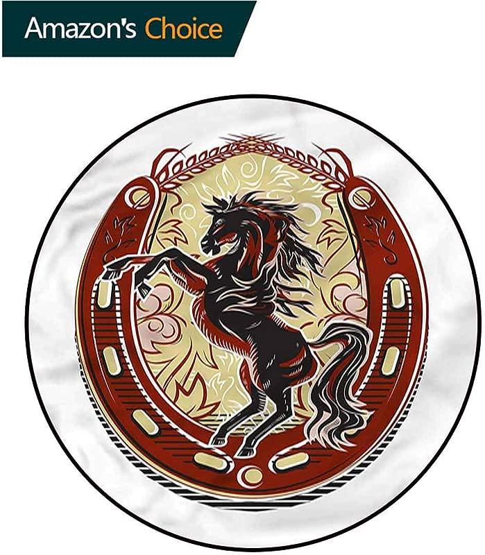 Horseshoe Modern Vintage Rugs Rampant Horse Stallion Non Slip Living Room Soft Floor Mat Diameter 35