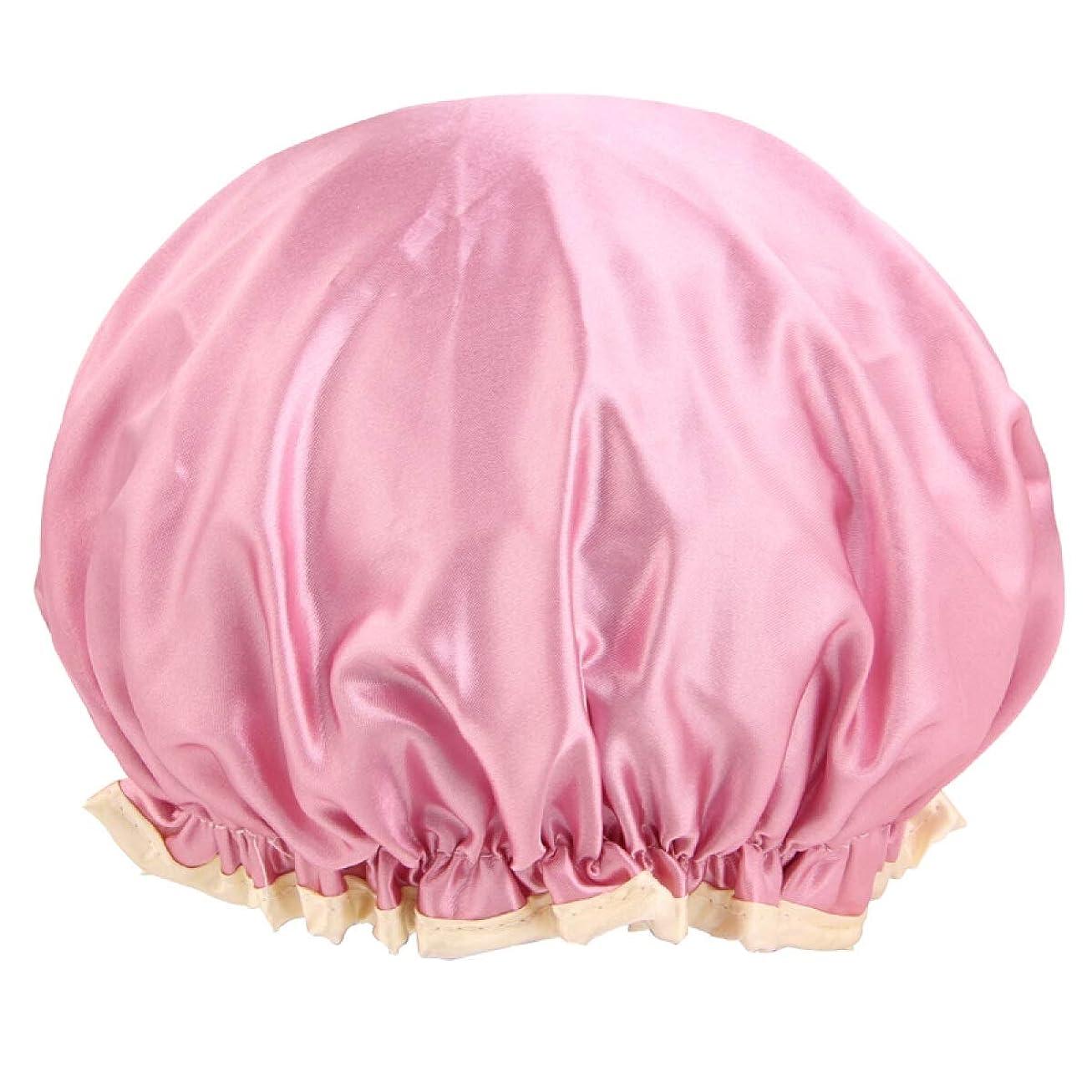 頭クランプ有名なCHAHANG DDouble層の厚い多機能サテン防水シャワーキャップ(シャンプーキャップ、シャワーキャップ、防水髪ジャケット、キッチンアンチフードキャップ) (Color : Pink)