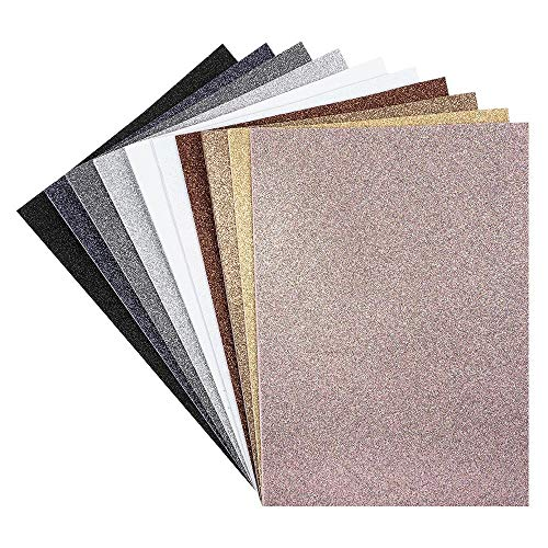 Moosgummi-Platten mit Glitzer   selbstklebend   DIN A4   2mm   10 Bogen   Bastelschaumstoff, Eva-Platten   ideal zum Basteln (dezente Farben)
