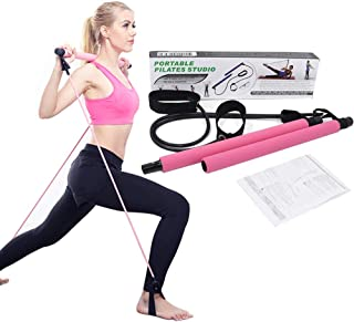 Johiux Portable Pilates Bar Kit with Resistance Band for Exercise Home Gym Pilates Reformer Body Shaping Pilates Stick for...