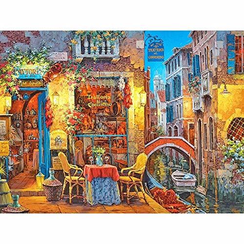 xhabbaa DIY 5D Diamond Painting Kit Riverside Restaurant Mosaik Kreuzstich Vollrunde Bohrer Strass Stickerei Handwerk für Erwachsene Home Decor Geschenke 40X50Cm (16X20Inch)