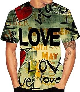 Men Creative Casual Loose Comfortable Love Letter Street Graffiti 3D Printed Hippie Tops Short Sleeved Top Blouse T-Shirt
