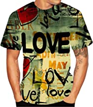 Joopee Men Creative Casual Loose Comfortable Love Letter Street Graffiti 3D Printed Hippie Tops Short Sleeved Top Blouse T-Shirt