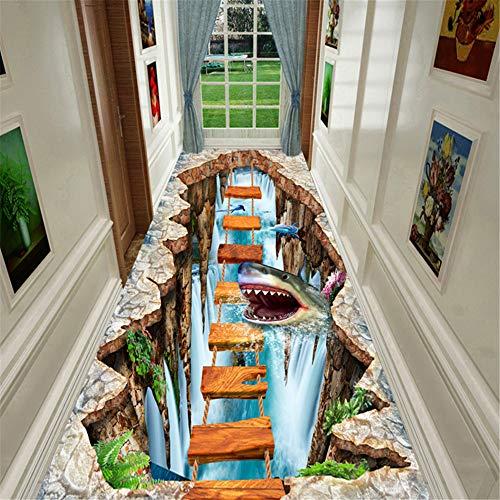 JLCP Pasillo 3D Pasillo Corredor Alfombra, Tiburón Submarino Cocina Alfombras del área del Hotel Escaleras Antideslizantes Lavables Tapetes para Piso, Ancho y Largo Personalizados,80x150cm