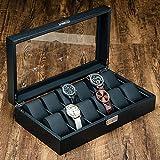 Caja de Reloj de Cuero para Hombre con Tapa de Vidrio de 12 Ranuras Soporte para Reloj Caja de Reloj de Fibra de Carbono con Cerradura y bisagras de Metal Negro