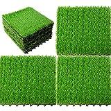 uyoyous Set di 18 piastrelle per prato artificiale, per balconi o terrazze, 25 mm, 30 x 30 cm, per pavimenti in erba artificiale, piastrelle in prato verde (verde)