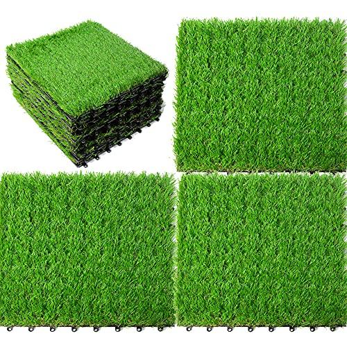 uyoyous 18 Stück Kunstrasen Gras Künstliche Rasen Grasmatte Kunststoffrasen Garten-Rasen Simulation Rasen für Outdoor Balkon Terrasse, 25mm, 30x30cm, Grün