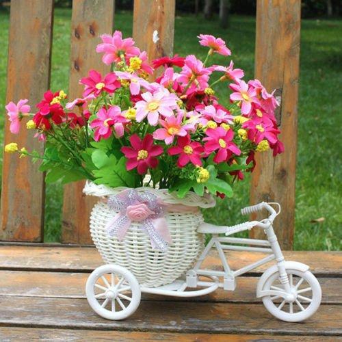 Xizfday Jarron con Flores de Nailon de Color Rosa Arreglos Florales para Decoracion de Casa Sala Mesa de Comedor Boda