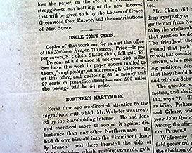 UNCLE TOM'S CABIN Harriet Beecher Stowe SLAVERY 1852 Washington D.C. Newspaper THE NATIONAL ERA, Washington, D.C., June 17, 1852