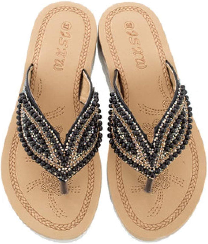 MEIZOKEN Women Slippers Summer bluee color Crystal Beaches flip Flops Platform Sandals