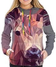 Polygon Deer Art Woman Pullover Long Sleeve Hoodies Loose Casual Sweatshirts with Pocket