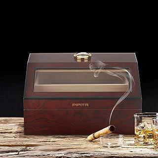 PIPITA Cigarrluftfuktare, cigarrlåda med hygrometer och luftfuktare, cederträ skrivbord cigarr luftfuktare för 25-50 cigar...