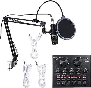 بطاقة الصوت الحية متعددة الوظائف وميكروفون BM800 تعليق عدة ميكروفون مكثف تسجيل الإذاعة مجموعة ميكروفون ذكية حجم قابل للتعد...
