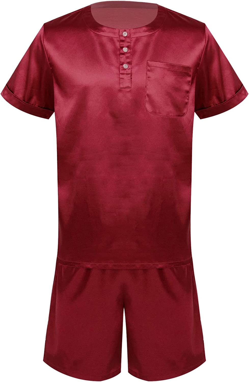 ACSUSS Mens Silk Satin Pajamas Set Short Sleeve Button Tops and Shorts Classic Sleepwear Loungewear