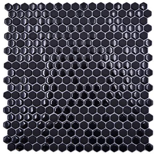 Glasmozaïek tegel Hexagon enamel mix zwart glanzend/mat voor wand badkamer toilet keuken tegelspiegel tegelverkleeding badkuip
