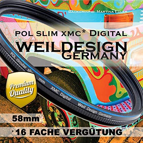 Polfilter POL 58mm Circular Slim XMC Digital Weil Design Germany * Kräftigere Farben * Frontgewinde * 16 Fach XMC vergütet * inkl. Filterbox (POL Filter 58mm)