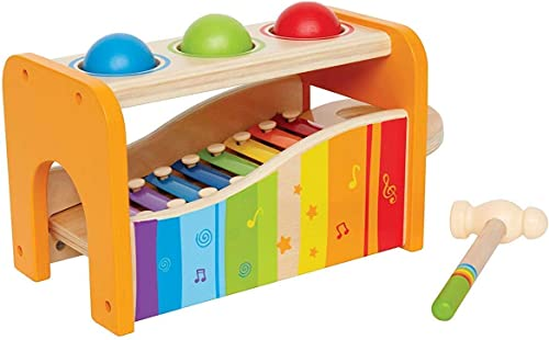 Hape Pound & Tap Bench with Slide Out Xylophone - Award Winning Durable Wooden Musical Pounding Toy for Toddlers, Mul...