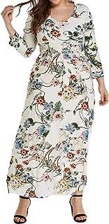 Kaister Damen Rock drucken V-Ausschnitt Langarm lose Kleid Casual Plus Size Blume Hawaiian Bohemian Boho langes Kleid