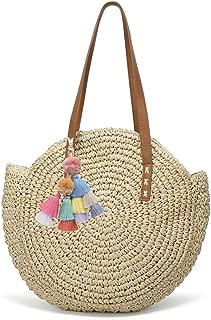 Women's Straw Handbags Large Summer Beach Tote Woven Round Pompom Handle Shoulder Bag