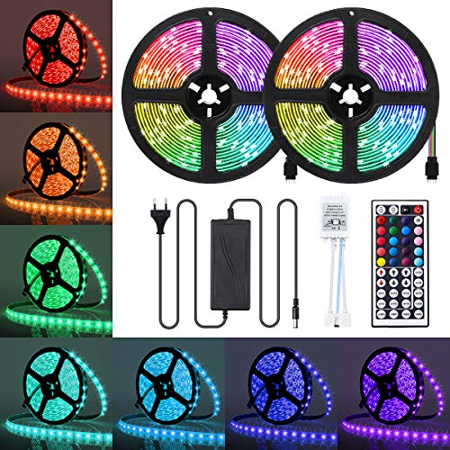 AMBOTHER LED Streifen 10M(2x5M) RGB LED Strip 5050 SMD 300(2x150) LEDs Lichtband IP65 Wasserdicht mit Netzteil 44-Tasten IR Fernbedienung selbstklebend Kit für Innen außen Beleuchtung Deko