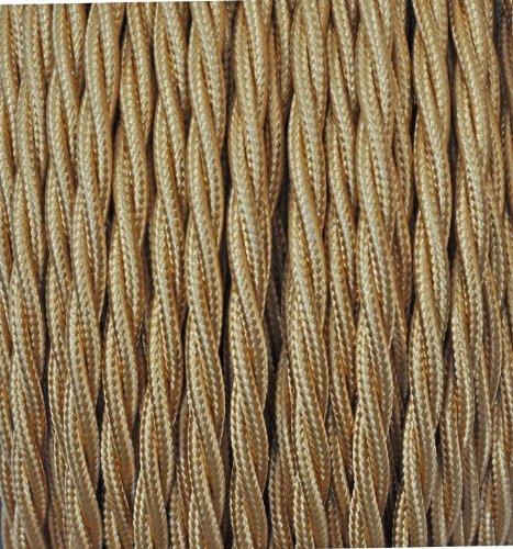 Cavo Elettrico Treccia/Trecciato Rivestito in Tessuto. Colore Oro. Sezione 3x0.75 - 10 Metri