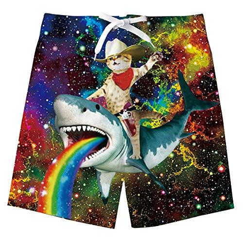 ALISISTER Boys Swim Trunks Size 8 Toddler Kids Riding Shark Cat Board Shorts Quick Drying Boardshorts with Pockets Bathing Suit Novelty Galaxy Swimwear Mesh Lining Hawaiian Summer Clothing 7T Blue