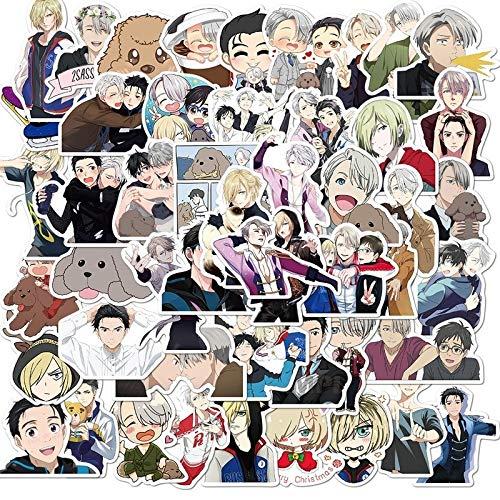 LVLUO Pegatinas de Juguete para niños, Regalo, Patinaje artístico, Pegatinas de Anime para Casco DIY, Maleta para portátil, papelería, 50 Uds.