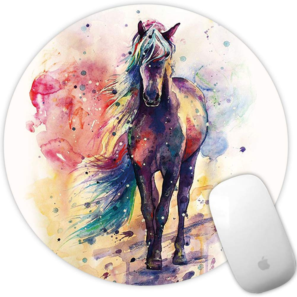 Nakapa Anti Slip Mouse Pad Rubber Round Mousepads Desktop Notebook Mouse Mat for Working and Gaming 260X210mm Colorful Mandala