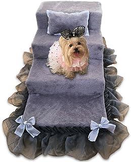 Escaleras de perro para perros medianos para cama alta, 4 escalones de esponja de gamuza