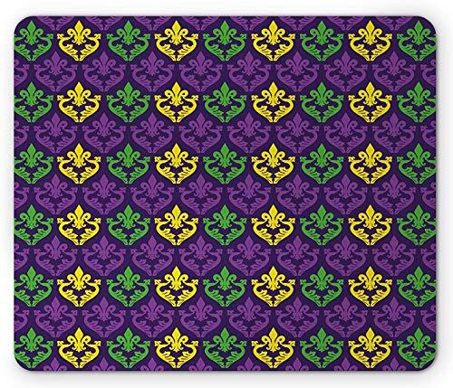 Karneval-Mauspad, antike altmodische Motive in Karneval-Feiertagsfarben-Fliesen-Muster, Rechteck-Rechteck-rutschfestes Gummi-Mauspad, lila grün-gelb
