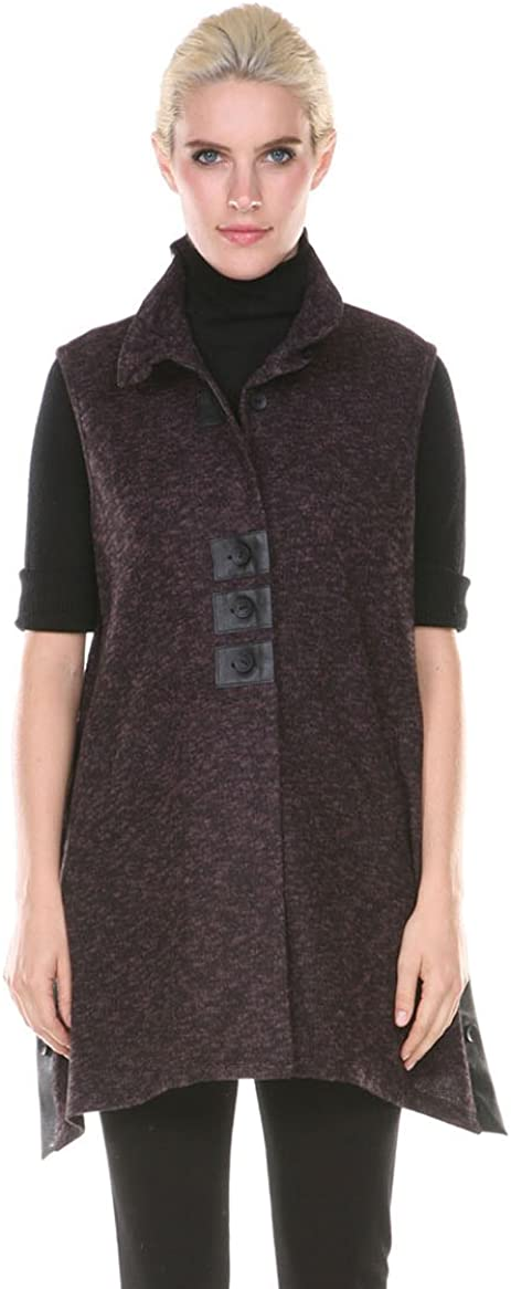 Terra-SJ Apparel Womens Tunic Tops - Heathered Knit Sleeveless Collared Jumper Vest with Faux Leather Contrast