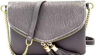 Fashion Vegan Leather Faux Fur Small Envelope Clutch Crossbody Bag Purse