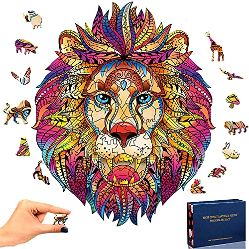 Wooden Jigsaw Puzzles- Lion King Puzzle Irregular Shape Animal Wooden Puzzle, Lion Jigsaw Pieces Best Gift for Adults and Kids, (6.29×7.77 inches) 109 pcs Small
