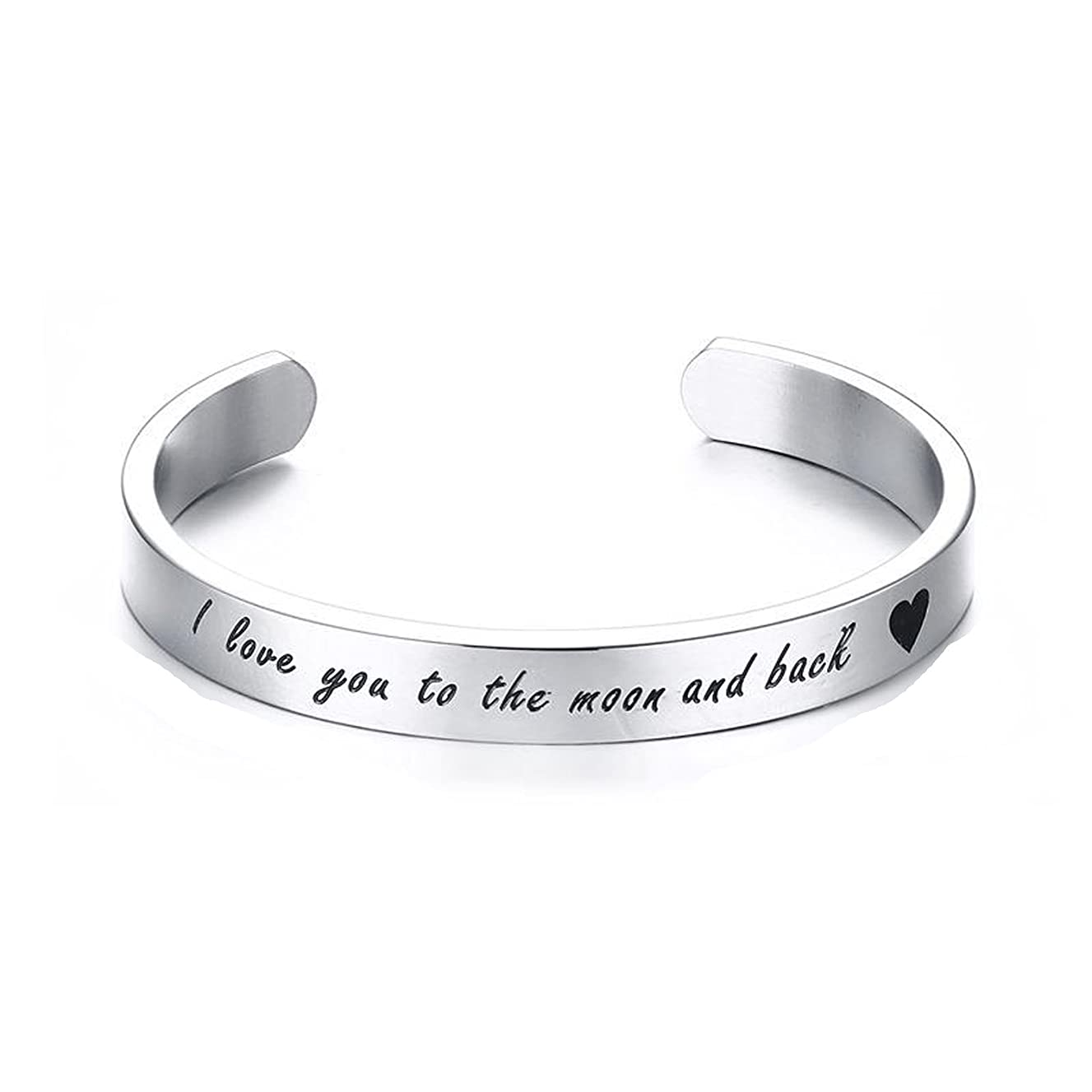 Nanafast 8mm Letters Messaged Cuff Bangle Bracelet, Stainless Steel Couple Bangle Jewelry Gift