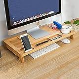 Home-Neat Support de moniteur en bambou pour PC, ordinateur portable, télévision, imprimante Rangement pour bureau, salle de travail, dortoir