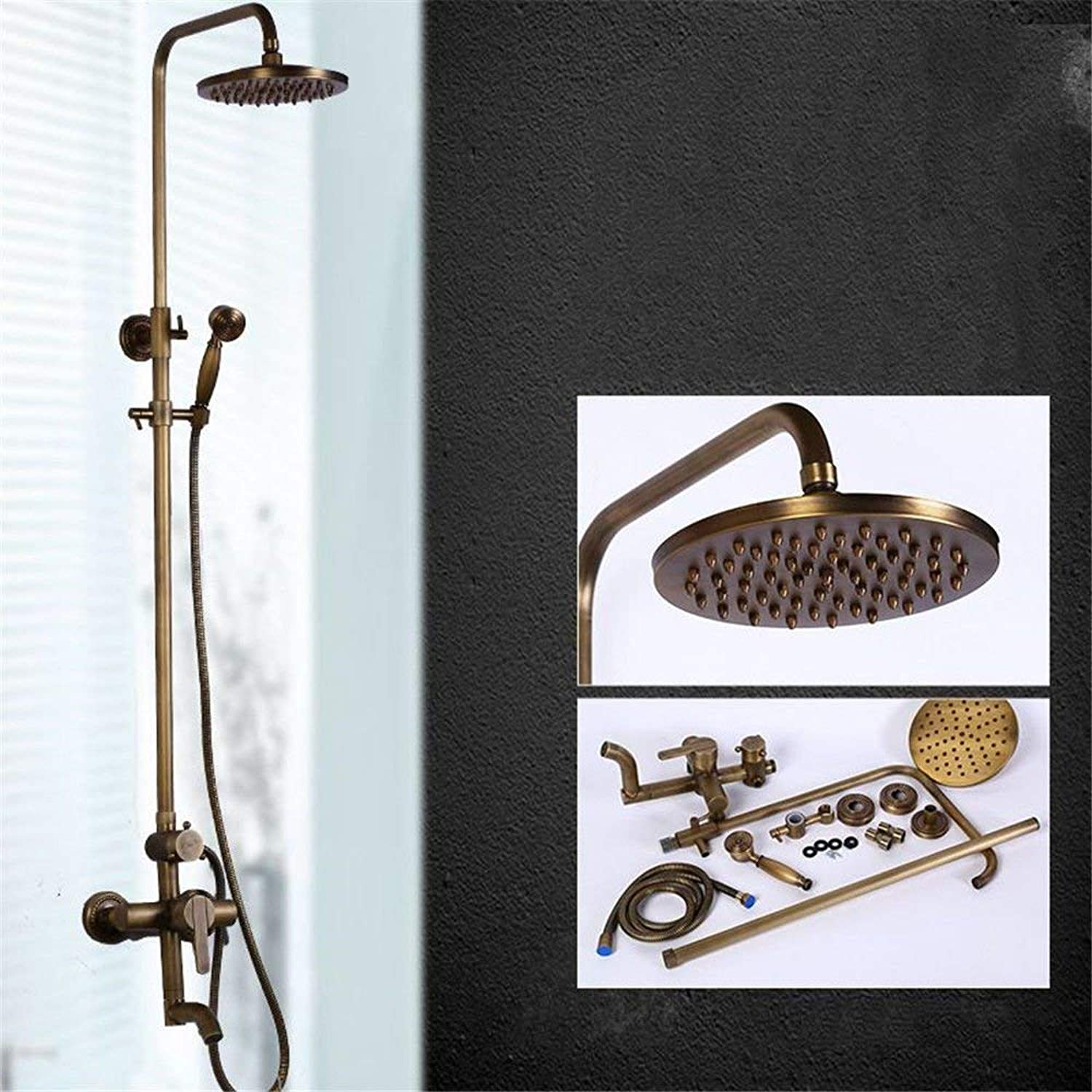 FERZA home Sink Mixer Tap Bathroom Kitchen Basin Tap Leakproof Save Water Antique Shower Full Copper Shower Wall Mounted Lift Shower Head?Hand Held Shower Shower Temperature Control