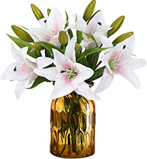 RERXN Artificial Tiger Lily Latex Real Touch Flower Home Wedding Party Decor,Pack of 5 (White with red Heart)